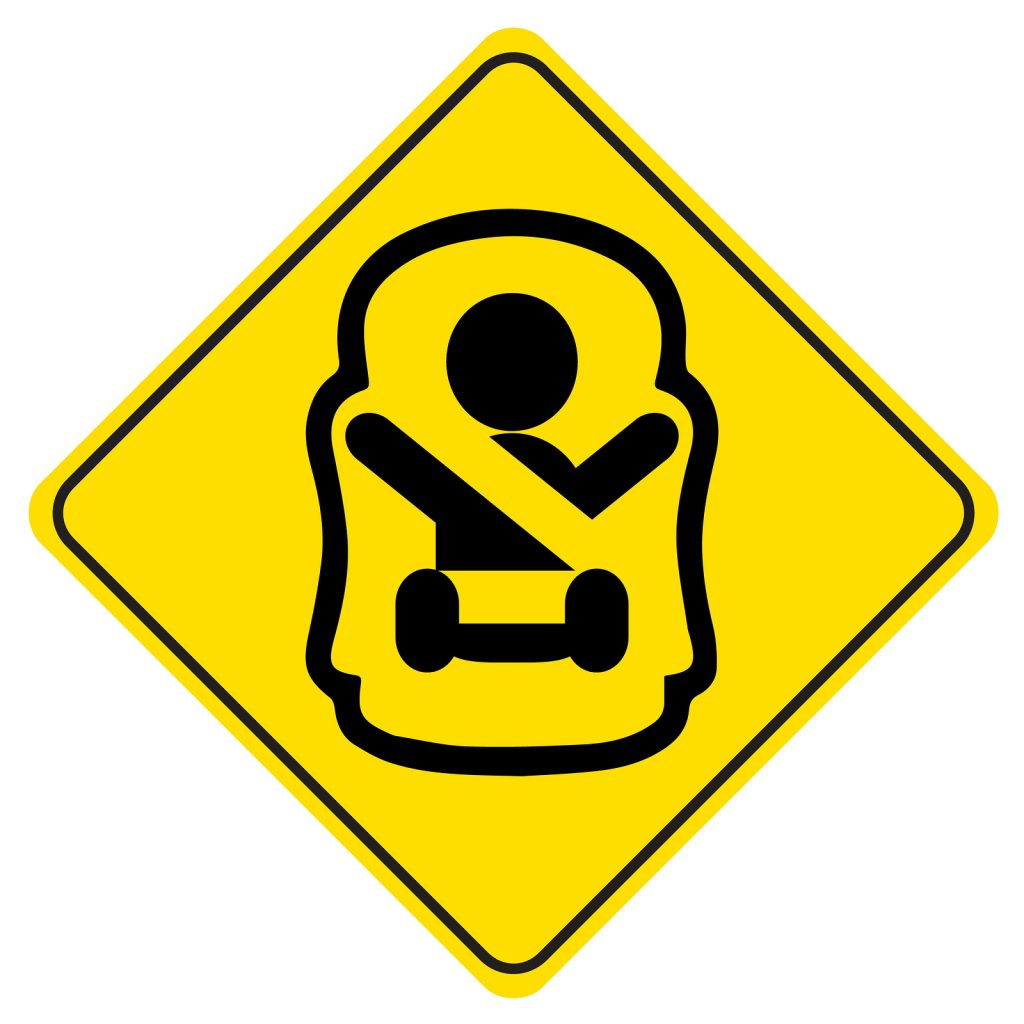 "Sticker ""Baby on board"". Symbol of a baby in car seat. Children safety sign for car window."